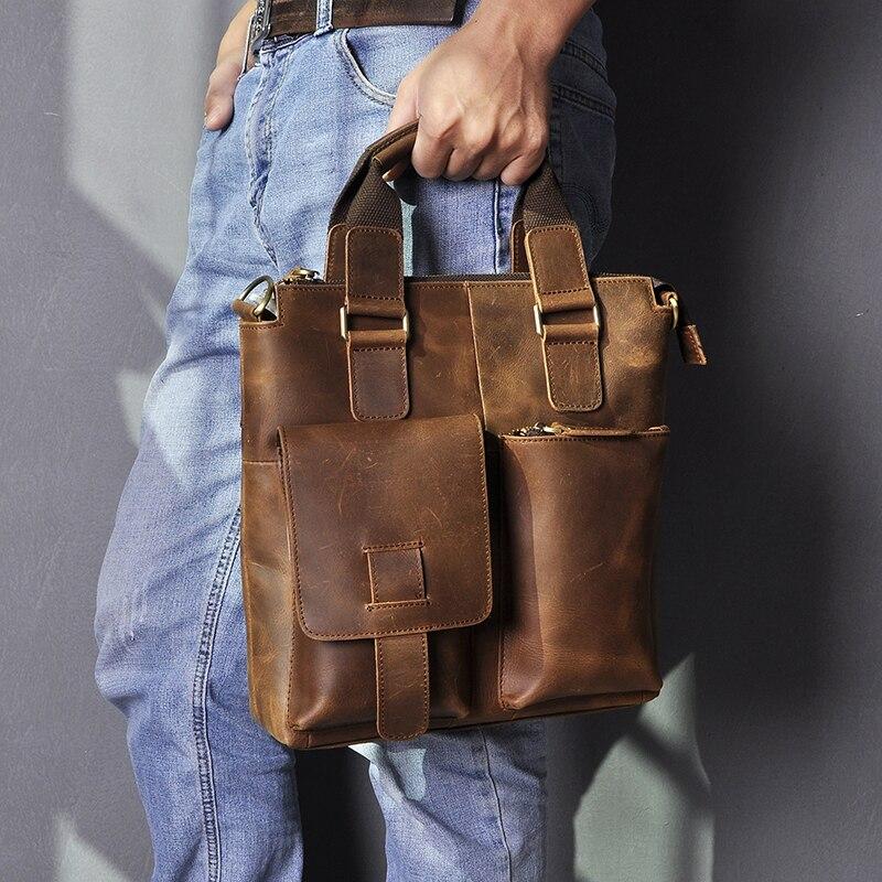 """Hd84a2b24d4974b36ba6843b54b0bc01b1 Men Original Leather Retro Designer Business Briefcase Casual 12"""" Laptop Travel Bag Tote Attache Messenger Bag Portfolio B259"""