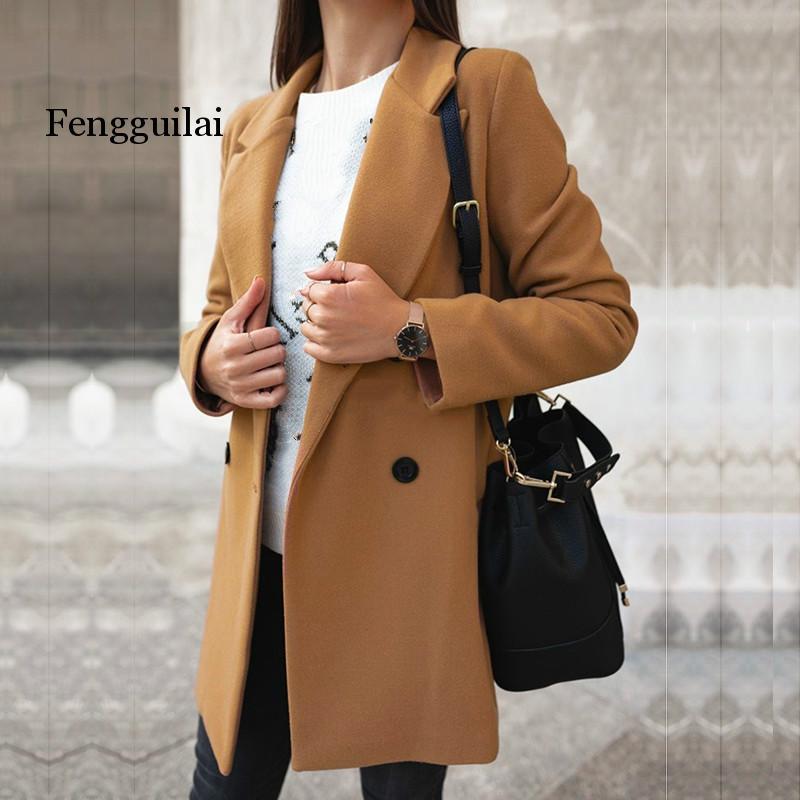 Women's Blend Coat Long Button Wool Blend Coat Female Woman Winter Coat 2020 Overcoat Elegant Warm Outerwear