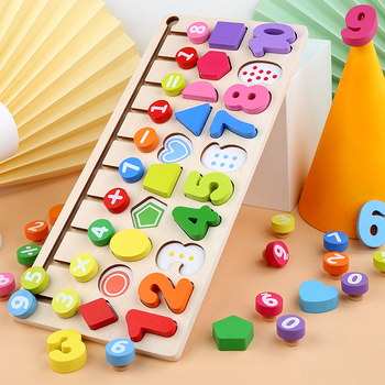 Preschool Wooden Montessori Toys Count Geometric Shape Cognition Match Baby Early Education Teaching Aids Math Toys For Children wooden education baby kindergarten mouse thread cheese plaything early learning education toys montessori teaching aids math to