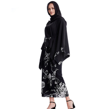 Muslim Hijab Dress Women Elegant Muslim Set Mid-waist Print Long Sleeve Top Wrap Loose Skirt Round Neck 2 Piece Sets Women gathered sleeve mixed print wrap top