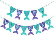 Mermaid Happy Birthday Banner Shining Mermaid Trailer Banner for Mermaid Theme Birthday Party First Birthday Party Baby Shower little mermaid party supplies mermaid theme birthday decor mermaid banner balloon for kids favors wedding party decorations