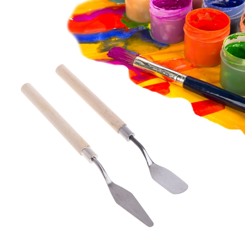 Hot 2Pcs Stainless Steel Palette Knife Spatula Scraper For Mixing Art Oil Painting