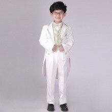 Clothes-Sets Formal Suits Pants Costume Blazers Vest Bow-Tie Patchwork Party Gold Silver