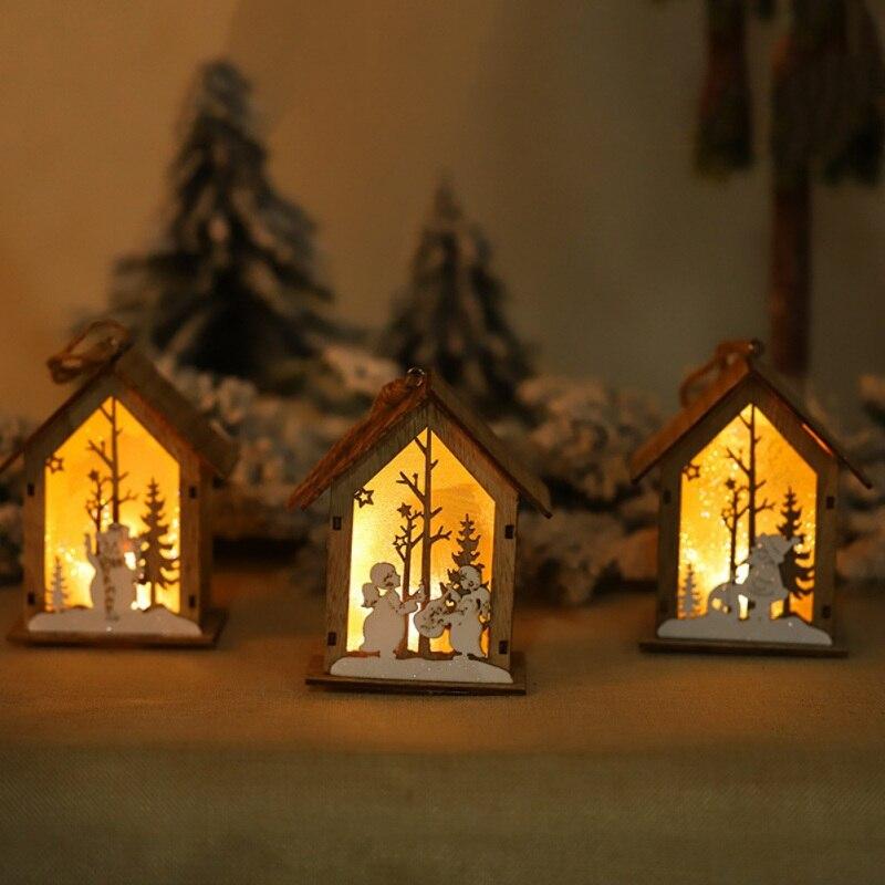 Рождественская Деревянная Рождественская освещенная сборка маленького домика Рождественская елка украшения светящийся домик висячий кулон Декор - 5