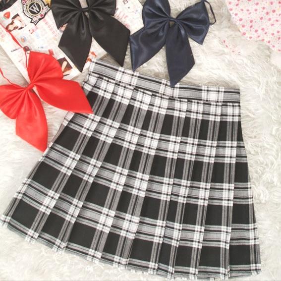 Preppy Style High Waist  Pleated Skirts Women Korean A-Line Short Skirts Uniforms School Kawaii Tartan Plaid Skirt Saias  4