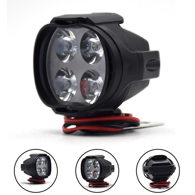 1pc/1pair Motorcycle Headlight 4LED 12V DC Moto Fog Spotlight Electric Bicycles Waterproof Super Bright White Work Light