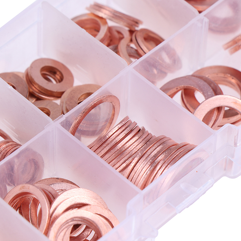 200Pcs/Box Copper Washer Gasket Nut And Bolt Set Flat Ring Seal Assortment Kit