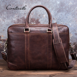 CONTACT'S Business Mann Tasche Gemüse Kuh Leder Aktentasche Taschen Für Männer Laptop Schulter Tasche Qualität Männlichen Handtaschen Portafolio