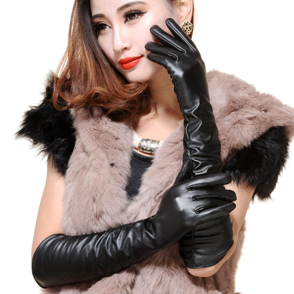 Fashion Women Windproof Long Faux Leather Full Finger Gloves Party Arm Warmers