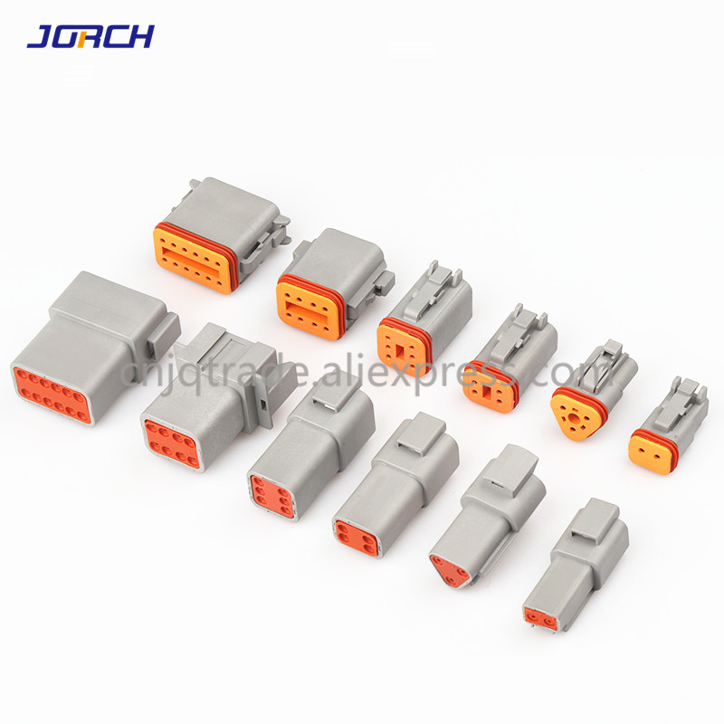 1set Deutsch DT Connector DT06-2S/DT04-2P 2P 3P 4P 6P 8P 12P  Waterproof Electrical Connector For Car Motor With Pins 22-16AWG