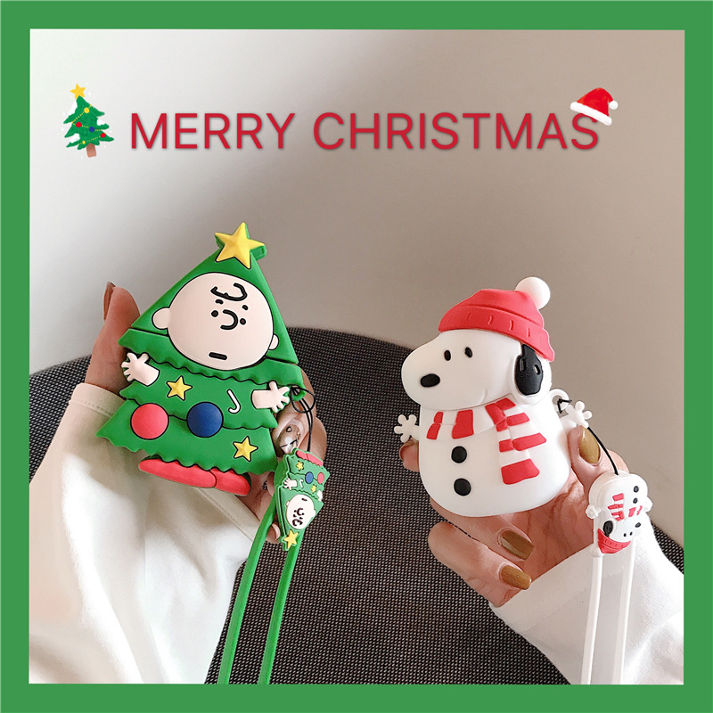 Cute Christmas Tree Charlie Snowman Dog Case Airpods 2 1 Cartoon Soft Cover For Apple AirPods Wireless Earphone Merry Christmas