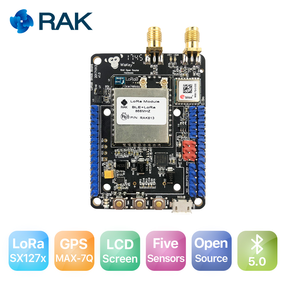 RAK815 Location Tracker Module BLE Bluetooth 5.0 Beacon With GPS Temperature Sensors OLED Display LoRaWAN RAK813 Breakboard Q194