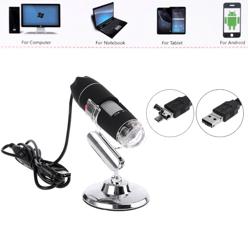 <font><b>1600X</b></font> Camera 8LED OTG Endoscope <font><b>USB</b></font> Digital <font><b>Microscope</b></font> Magnification with Stand 95AA image