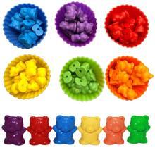 Contagem de ursos com empilhamento copos montessori arco-íris jogo de correspondência cor educacional triagem brinquedos para crianças brinquedo do bebê armazenamento
