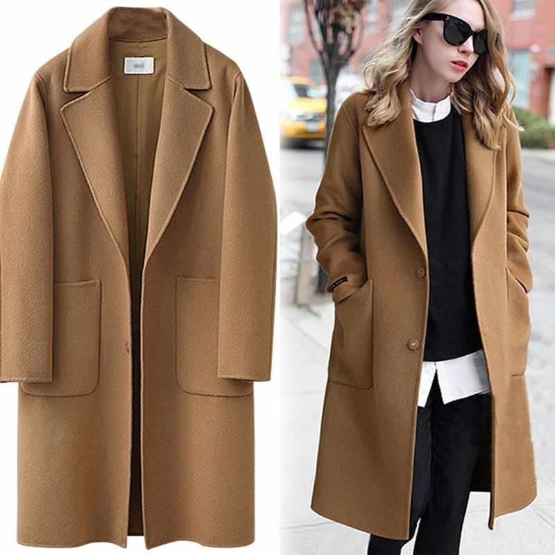 Plus size mulheres casaco de lã feminino elegante mistura casaco solto casaco de lã coreano casaco casual moda outono inverno feminino jaqueta