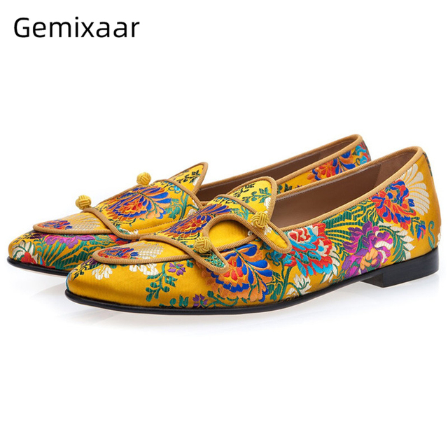 Ethnic Embroidery Flower Party Shoes Man Round Toes Flat Heel Slip-on Loafers Knitted Ball Belt Decor Spring Men Shoes