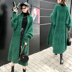 2019 Women Winter Long Knitted Cardigan Batwing Sleeve Solid O-Neck Casual Female Without Button Sweater Overcoats