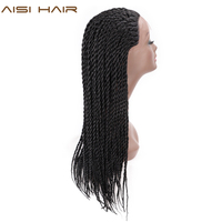 AISI HAIR Senegalese Twist Black Braided Wigs Synthetic Lace Front Wigs for Black Women 26 inches African Braids Wig
