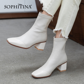Mature Boots Women Genuine Leather Zipper Antiskid Lady Shoes Square Toe High Heel Office Ankle Female Shoes SO860 Apparels Shoes