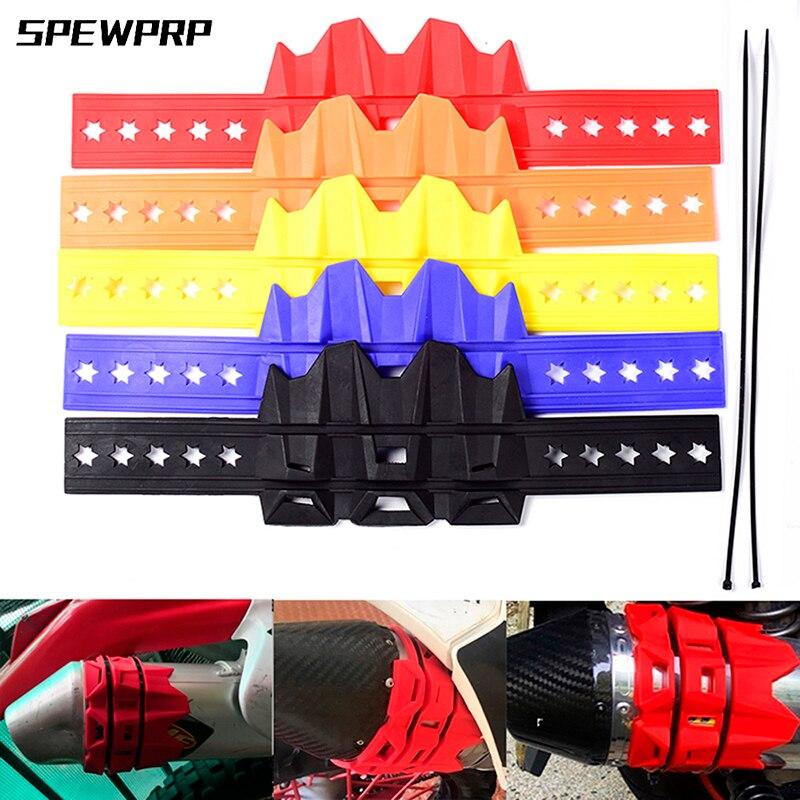 SPEWPRP 5 couleurs Moto silencieux/rond ovale Moto échappement silencieux protecteur couvercle peut s'adapter 100mm-140mm pour KTM 950 1190 1050