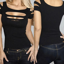 Ladies Women Sexy Ripped Slashed Black Tight T Shirt Top Clubwear Cut out Tee Club Wear(China)