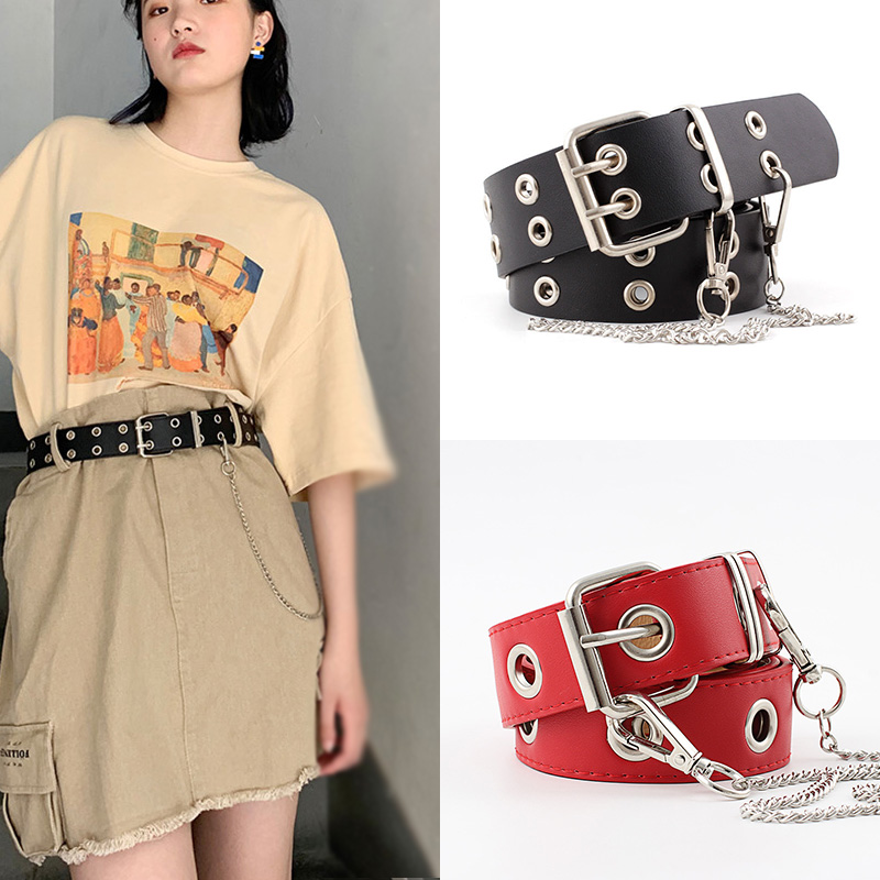 Women Belts Luxury Brand PU Punk With Rivets Chains Street Trend Belt High Quality Ladies For Female Jeans