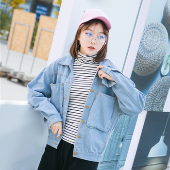 Vintage Light Blue Women Denim Basic Coats Autumn Winter Loose Female Jeans Jackets Korean Style BF Wind Denim Outwears New