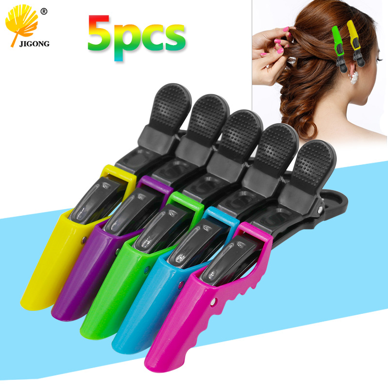 5pcs Crocodile Hair Clip Professional Hairdresser Clip Hair Clipper Styling Tool Color  Random  Delivery