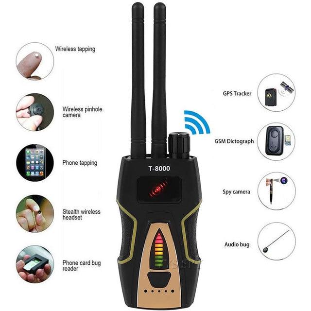 T8000 Radio RF Signal Detector Portable Anti Spy Hidden Camera Detector GSM Audio Bug Finder GPS Scanner Large Detection Range 1