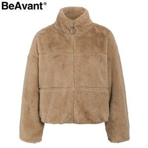 Image 5 - BeAvant Dikke teddy faux fur winter jas vrouwen Casual herfst rits zachte vrouwelijke uitloper jassen Lange mouwen streetwear lady jacket