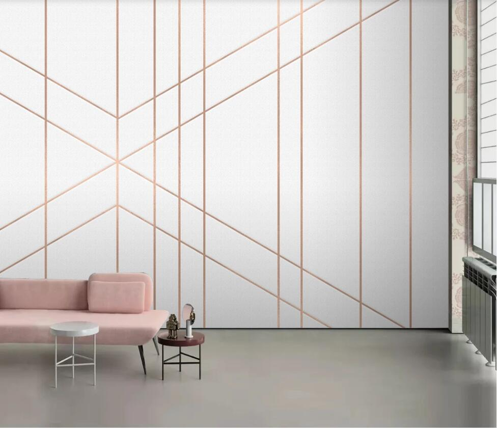 Large Custom Mural Wallpaper Abstract Geometric Golden Lines Modern Minimalist Luxury Background Wall Decoration Painting