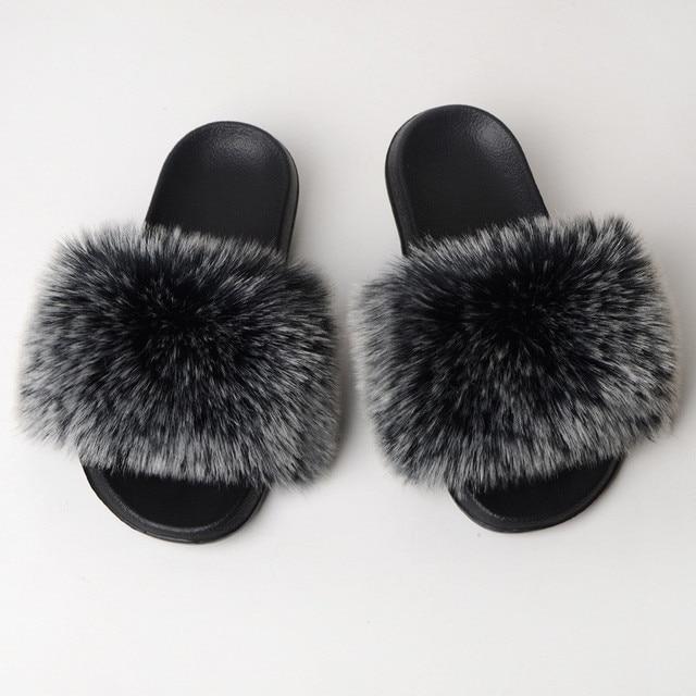 COOLSA Women Winter Faux Fur Slides Women Fake Fur Slippers Women Solid Non-slip Indoor Slippers Women Flip Flops Drop Shipping