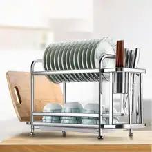 Dish Drainer Holder Thicken Stainless Steel Drying Rack Basket Bowl Dish Draining Shelf Dryer Tray Holder Kitchen Sink Organizer