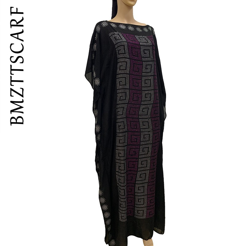 2019 New African Diamond 100% Cotton Chiffon Long Dashiki Dress With Scarf For Lady African Clothes 020#