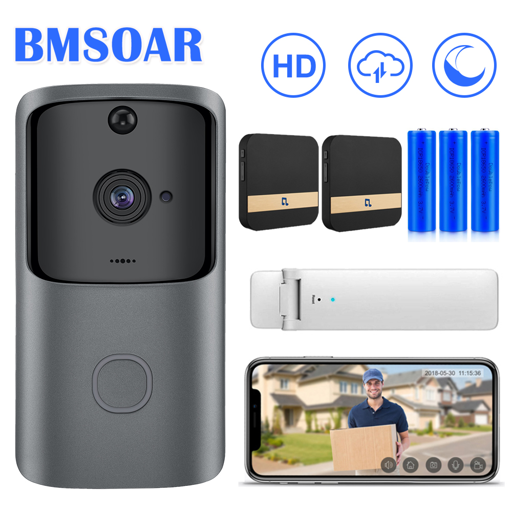 Bmsoar Video Doorbell Smart WIFI Wireless Door Bell Camera Intercom Home Monitor 720P HD Cloud APP Remote Record