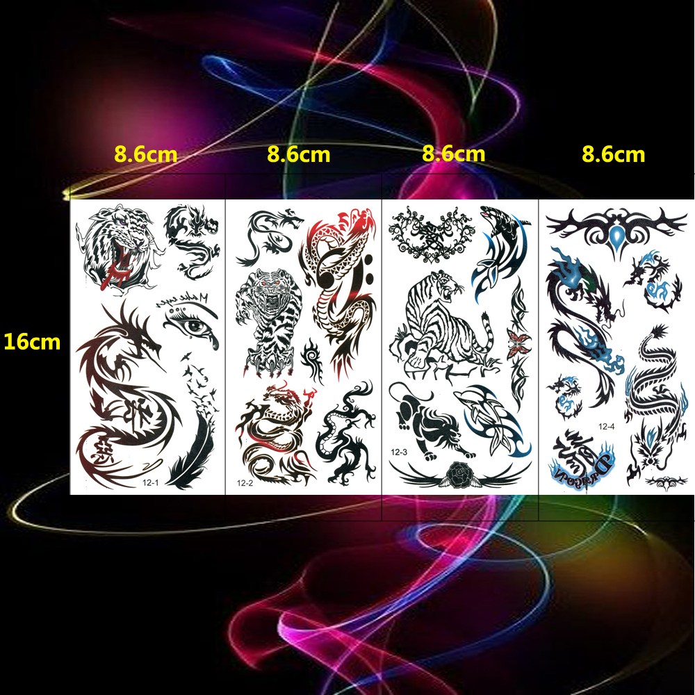 4PCS /set Tiger Fake Tattoos Dragon Tattoo Body Women Animal Hand Flower Girl Dolphin Tatoos Rose Girls Sticker Eye
