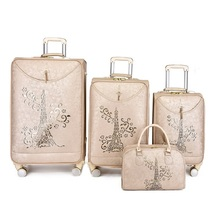 Export PU travel luggage set trolley travel suitcase box set on wheels with cosmetic bag