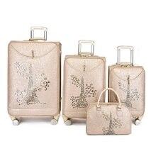 יצוא PU נסיעות סט מזוודות עגלת נסיעות מזוודת תיבת סט על גלגלים עם תיק קוסמטי