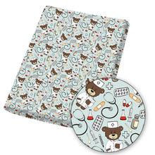 Tissu en Polyester et coton 45x145cm/pièce, étoffe imprimée avec dessin animé Bear Doctor pour bricolage, robe, couette, sac à main, matériel de couture