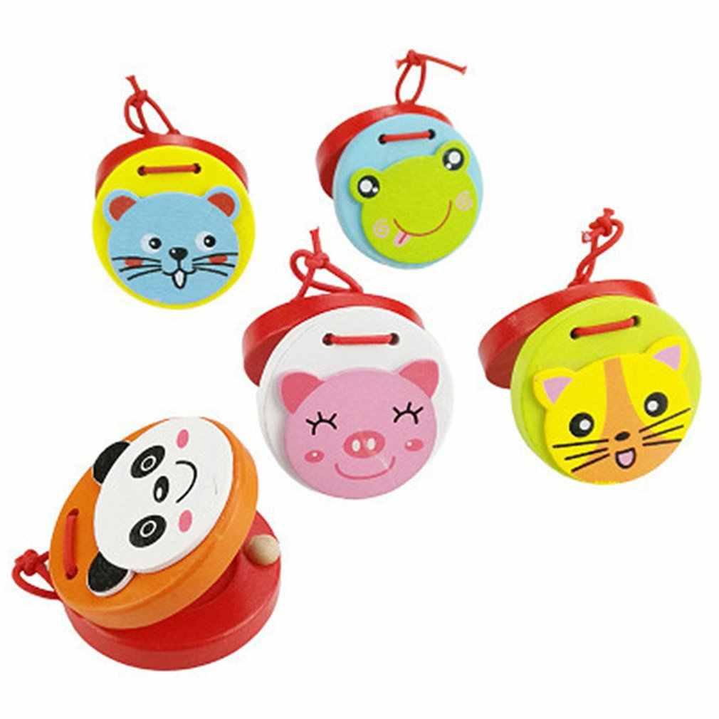Toy Musical Instruments Baby Educational Cartoon Wooden Castanets Musical Beat Instrument Handbell Toy for Children