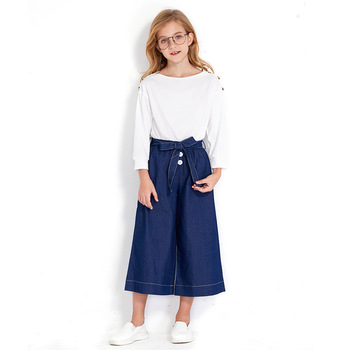 Autumn Kids Clothing Girl Children's Suit Korean Two-piece Long-sleeved Tshirt Off-Shoulder Wide Leg Nine Pants for Teenagers