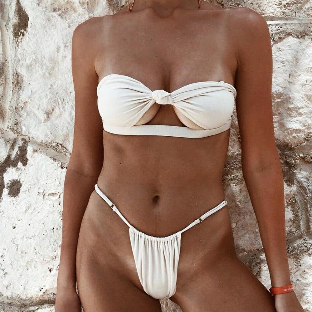 OMKAGI Brand Swimwear Women Hollow Up Thong Solid Swimsuit Sexy Push Up Bathing Suit Swimming Beachwear