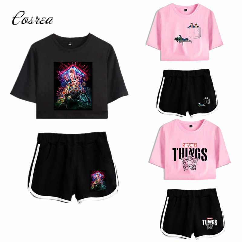Stranger Dingen T-shirt Dustin Stranger Dingen Sweatshirt Cosplay Shorts Meisje Running T-shirt Sport Shorts Pak Nancy Wheeler