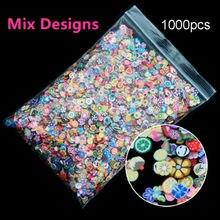 1000 unidades/pacote arte do prego frutas flores pena diy design fatias de cana decoração acrílico beleza polímero argila prego adesivo ferramenta