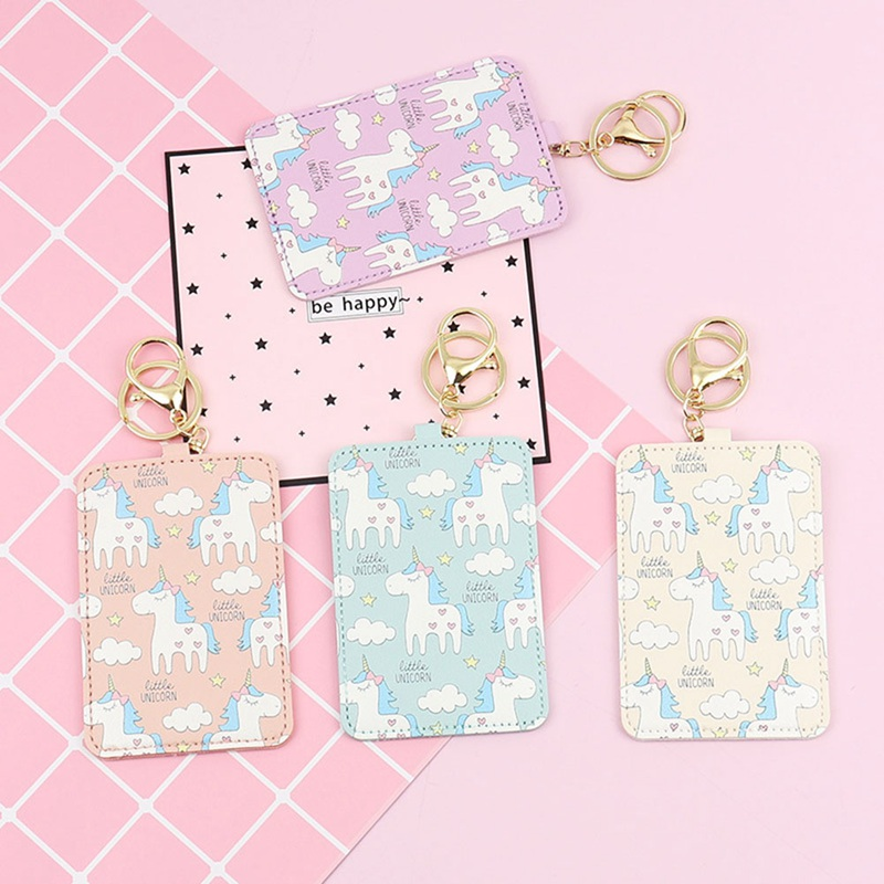 Cute Cartoon Card Cover with Keyring Chain Fashion Card Bag Bank Credit Card Holder Student ID Bus Card Pass Holder image
