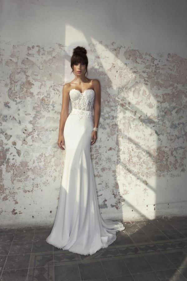 2019 Design Ivory Julie Vino Wedding Dresses Vestido De Noiva Sweetheart Appliques Sheer Bodice Robe De Mariee Wedding Gown