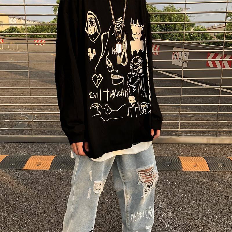 Mens Hip Hop Manica Lunga T-Camicette Autunno casual Cotone Nero Magliette e camicette Fresco di Stampa Tshirt Streetwear Punk Rock T camicette Delle Donne Degli Uomini
