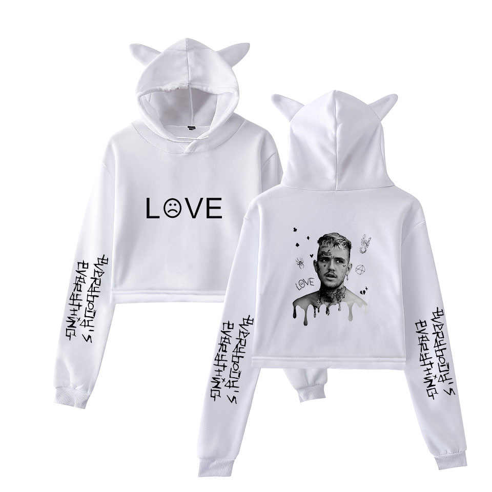 Rap Lil Peep Crop Top Hoodie Hip Hop Streetwear Kawaii Kat Oor Cropped Korte Sweatshirt Hooded Trui Vrouwen Tops Ropa mujer