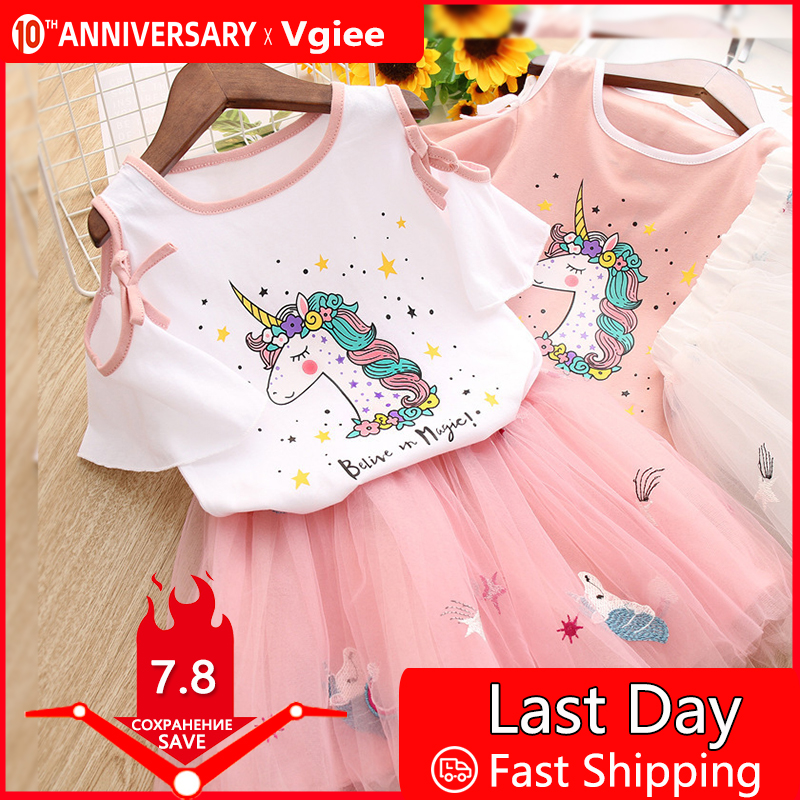 Vgiee Unicorn Girls Dress 2pc Clothes Set Baby Toddler Outfits Summer T- Shirt Children Kid Dresses For Girl 3 Years Party Dress