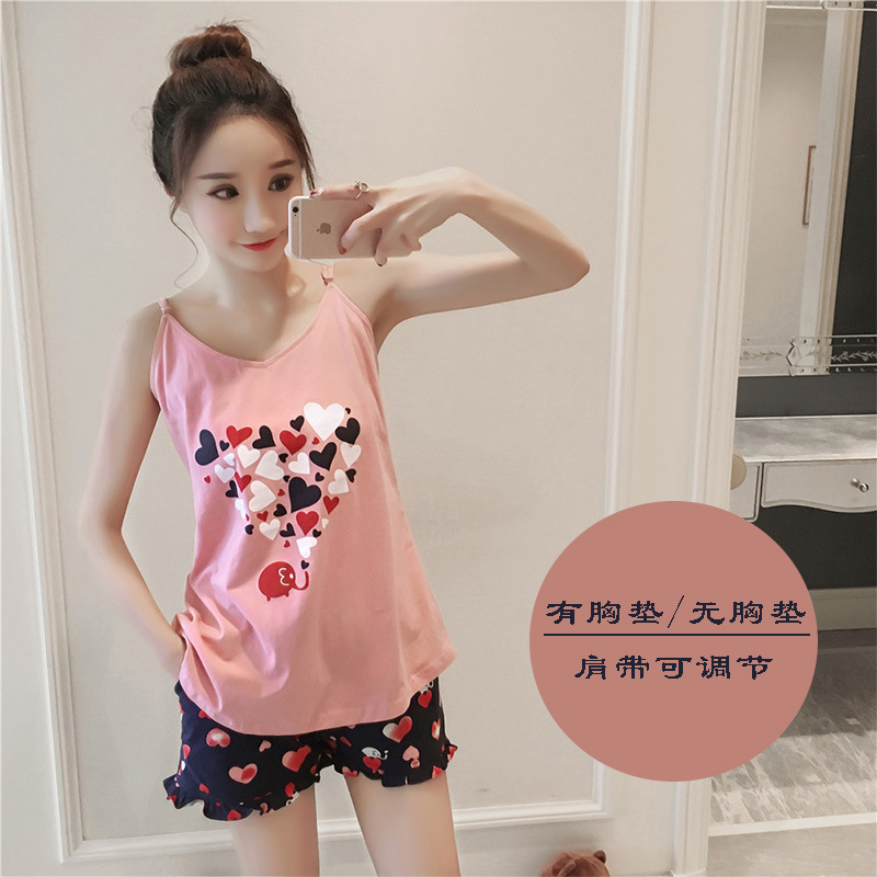 Summer Women Pajamas With Chest Pad Peach Heart Camisole Suit Shorts Home Wear